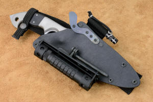 """Ari B'Lilah"" counterterrorism, combat knife, obverse side view in ATS-34 high molybdenum stainless steel blade, 304 stainless steel bolsters, G10 fiberglass/epoxy composite handle, hybrid tension-locking sheath in kydex, anodized aluminum, stainless steel, HULA, UBLX in polypropylene, polyester"