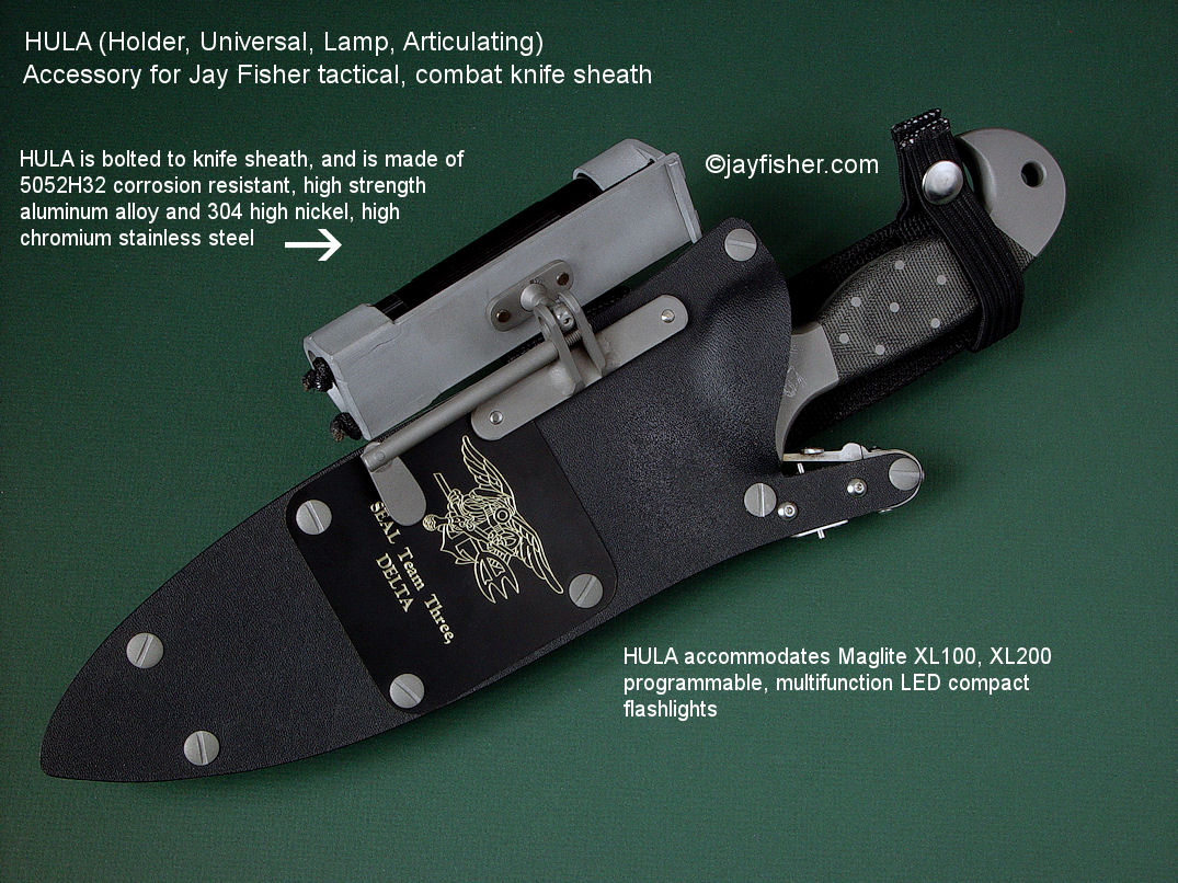 "The ""HULA"" (Holder, Universal, Lamp, Articulating) flashlight holder accessory for Jay Fisher's tactical, combat, survival, rescue knife sheaths"