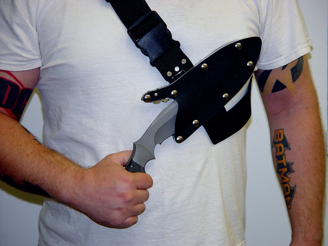The Sternum Harness for Locking tactical combat knife sheaths, modeled by Rusty Russom