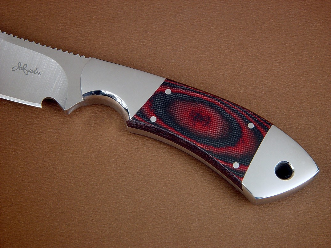 """Acamar"" obverse side view in CPMS30V high vanadium stainless tool steel blade, 304 stainless steel bolsters, red-black canvas micarta phenolic handle, black basketweave leather sheath"