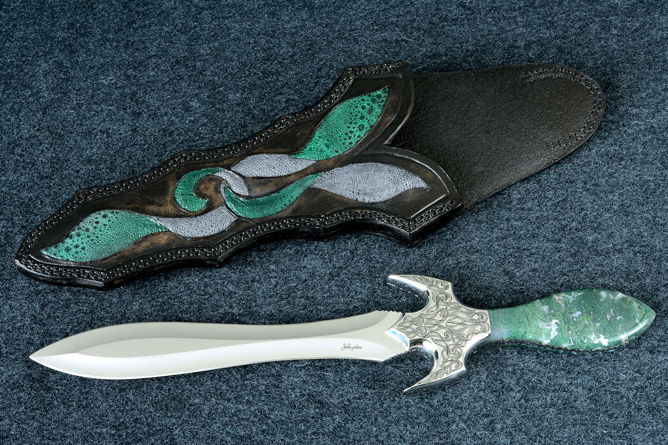 """Achelous"" in ATS-34 high molybdenum stainless steel blade, hand-engraved 304 stainless steel bolsters, Indian Green Moss Agate gemstone handle, hand-carved leather sheath inlaid with frog skin"