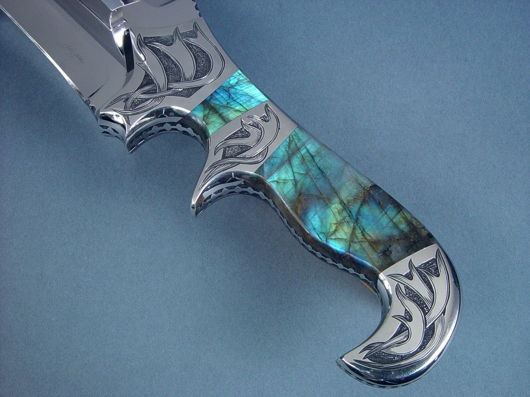 """Aeolus"" reverse side view in 440C high chromium stainless steel blade, hand-engraved 304 stainless steel bolsters, Labradorite gemstone handle"