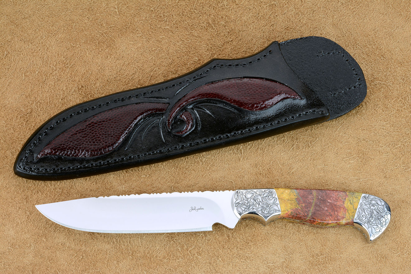 """Aldebaran"" obverse side view in CPM154CM high molybdenum powder metal technology stainless steel blade, hand-engraved 304 stainless steel bolsters, Sunset Jasper gemstone  handle, hand-carved leather sheath inlaid with ostrich leg skin"