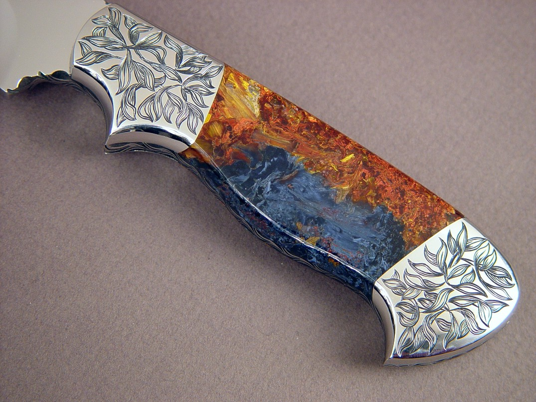 """Altair"" obverse side view: CPM154CM stainless steel blade, hand-engraved 304 stainless steel bolsters, Pietersite gemstone handle, Frog skin inlaid in hand-carved leather sheath"