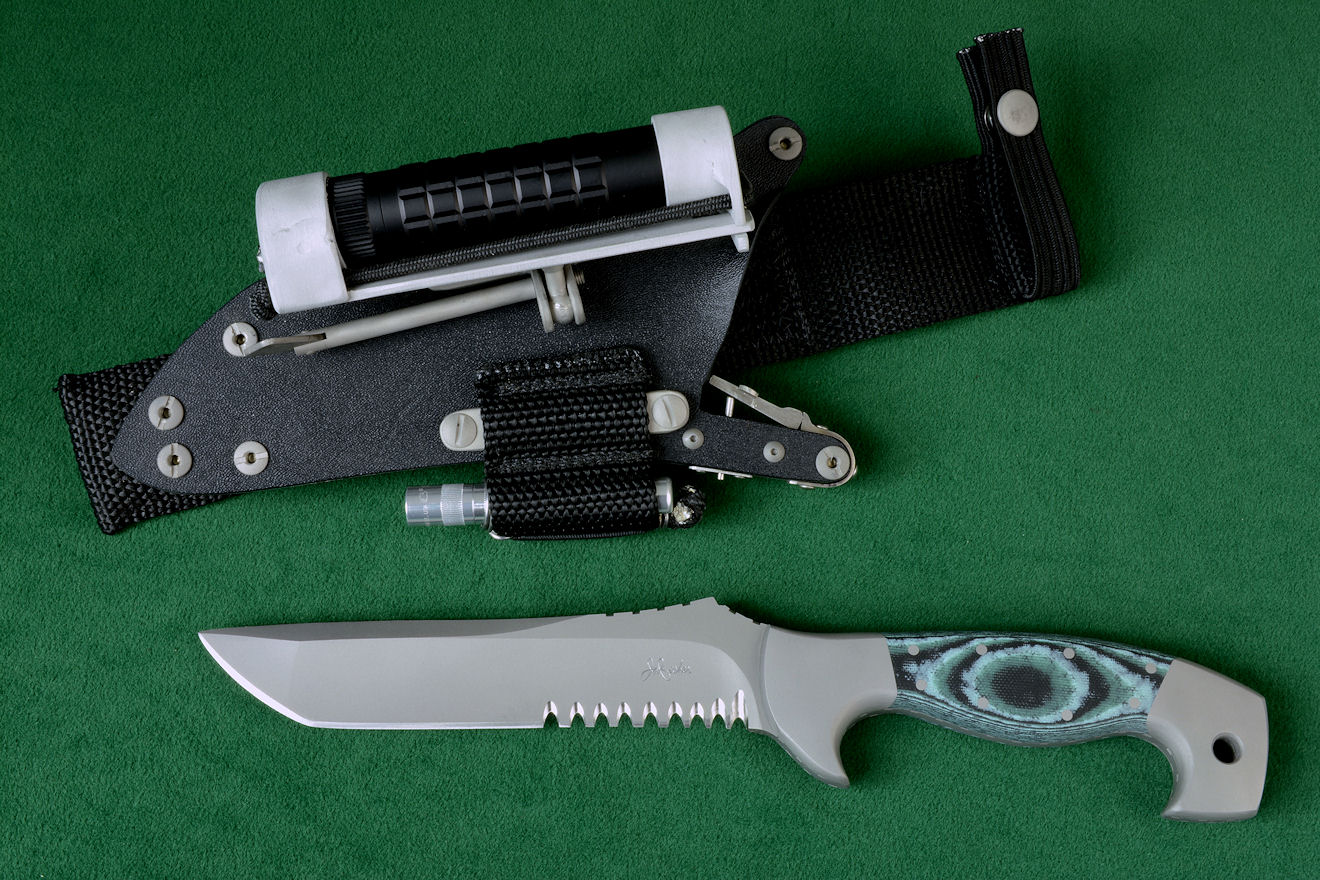 """Arctica"" Tactical, Combat, Rescue knife, obverse side view in CPMS90V stainless steel blade, 304 stainless steel bolsters, Green, Black, Pistachio G-10 fiberglass/epoxy composite laminate handle, locking sheath in kydex, aluminum, stainless steel with ultimate belt loop extender and accessories"