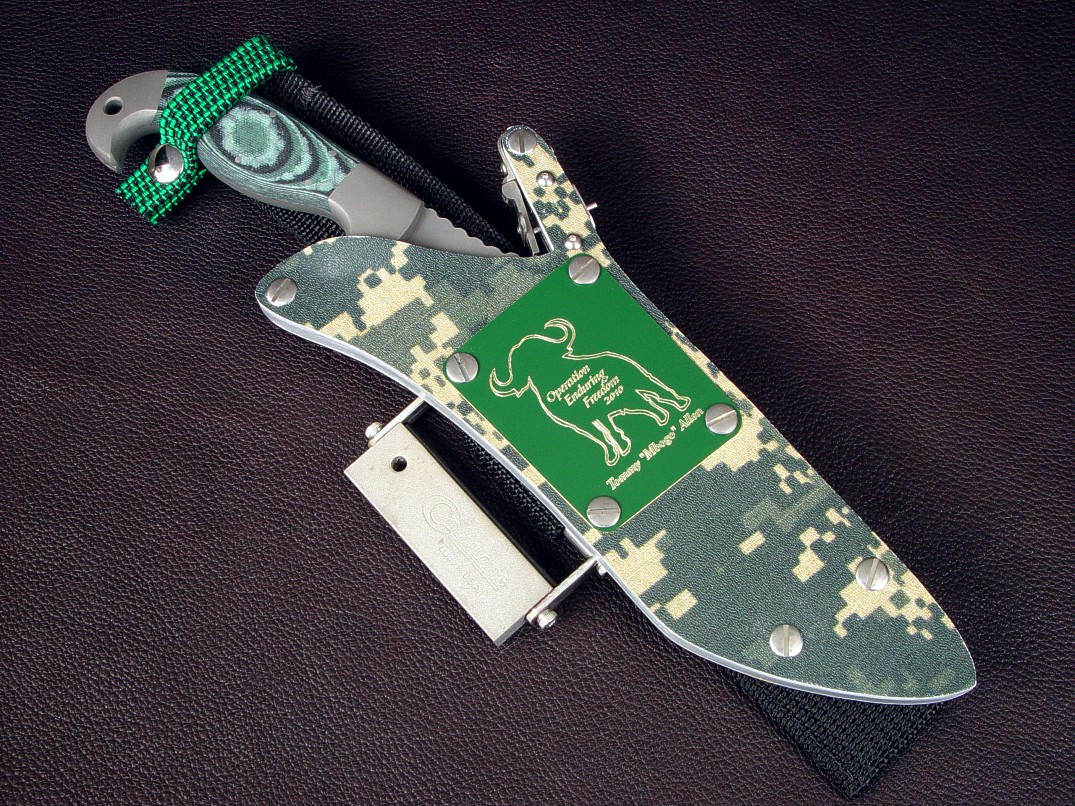 """Arcturus"" combat, tactical, survival knife obverse side view in CPM S30V high vanadiium stainless tool steel blade, 304 stainless steel bolsters, Green/Black/Pistacio G10 fiberglass epoxy laminate composite handle, woodland digital camouflage kydex, aluminum, stainless steel sheath"