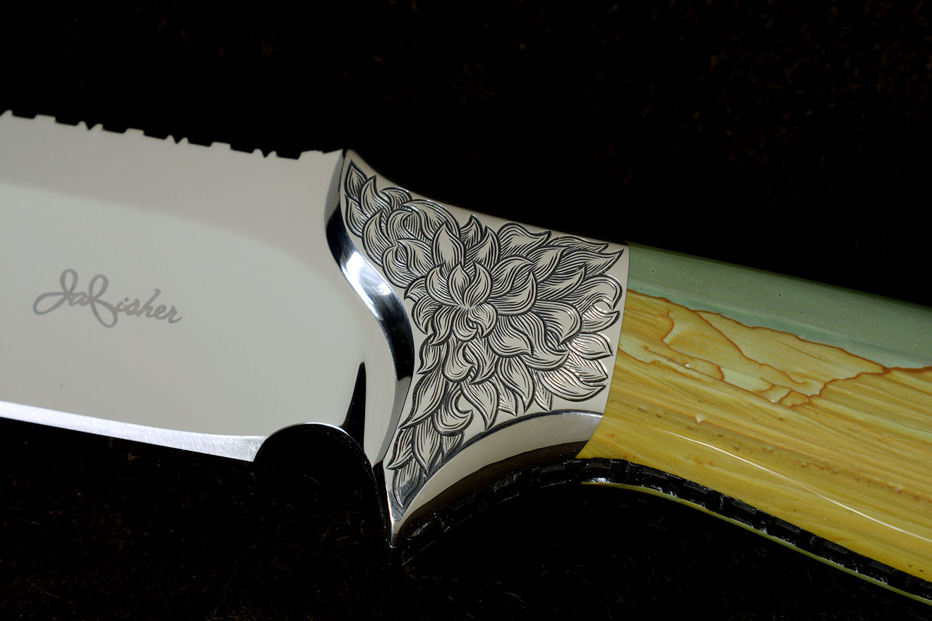 """Argyre"" obverse side view in 440C high chromium stainless steel blade, 304 stainless steel hand-engraved bolsters, Australian Landscape Jasper gemstone handle, hand-carved, hand-dyed leather sheath"