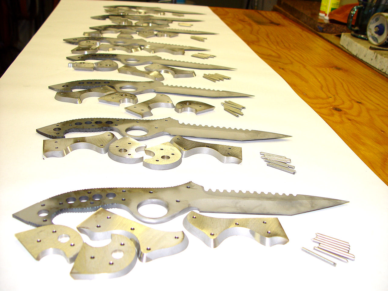 Group of Counterterrorism knives handmade by Jay Fisher in his studio in Clovis, New Mexico, USA