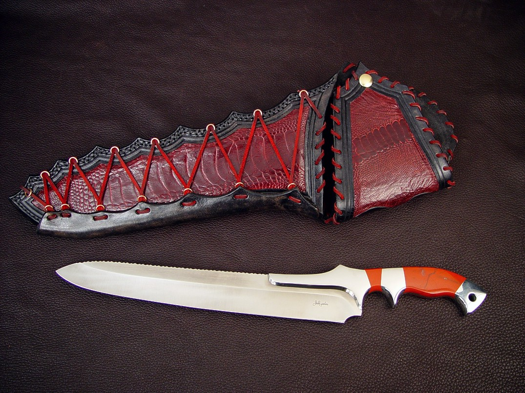"""Artemis"" obverse side view: CPMS30V high vanadium stainless tool steel blade, 304 stainless steel bolsters, Red River Jasper gemstone handle, ostrich leg skin inlaid in hand-carved leather sheath"