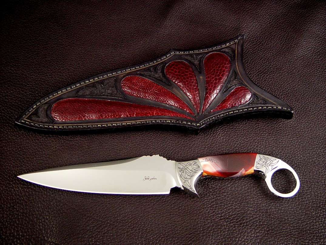 """Bulldog"" collector's knife, Obverse side view: 440C high chromium stainless steel blade, hand-engraved 304 stainless steel bolsters, Mookaite Jasper gemstone handle, Ostrich leg skin inlaid in hand-carved leather"