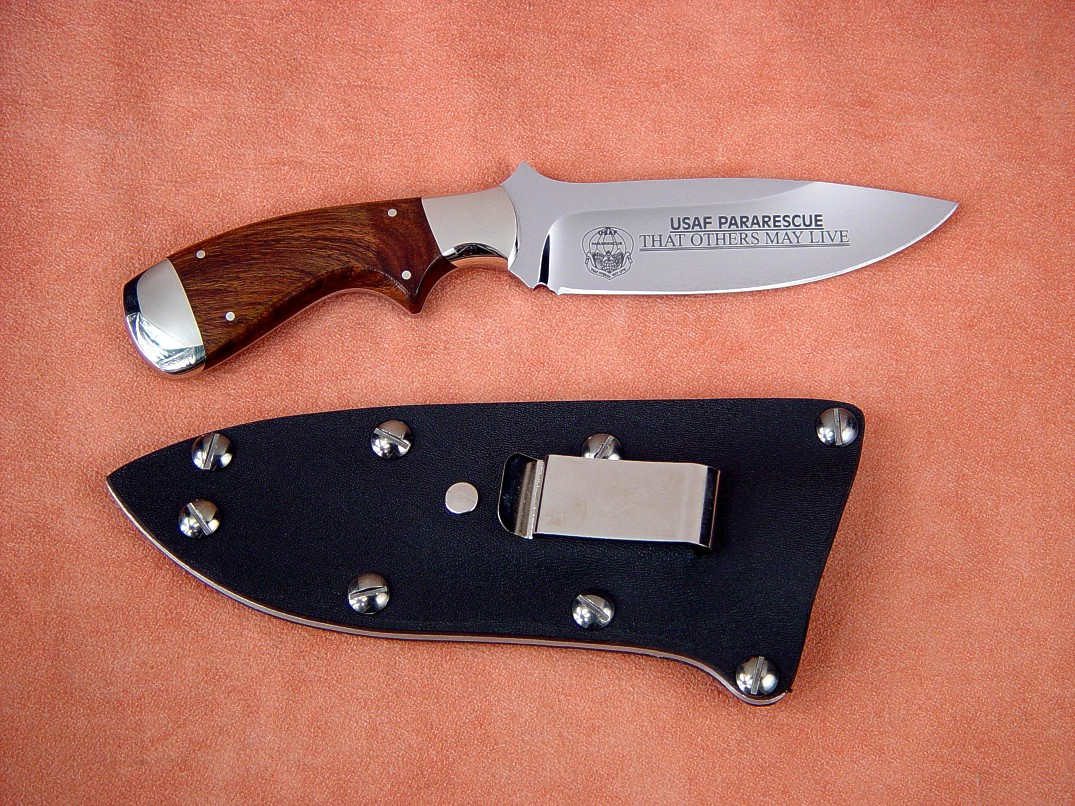 "USAF Pararescue ""Creature"" in mirror polished etched 440C stainless steel blade, 304 stainless steel bolsters, Guayabillo hardwood handle, kydex, aluminum, blued steel sheath with engraved flashplate"