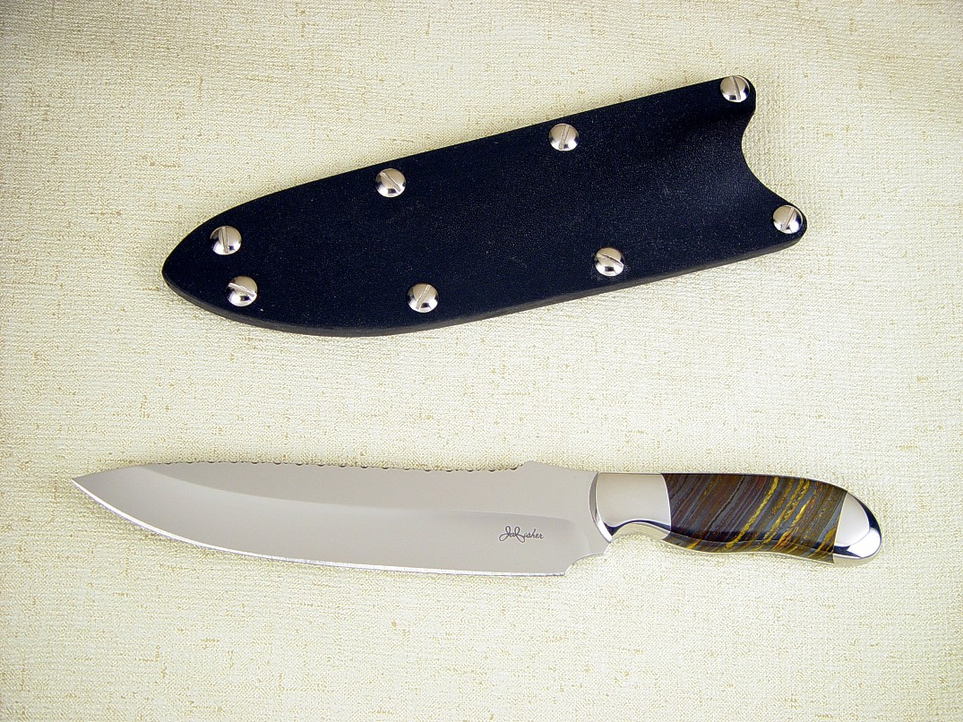"""Cyele"" chef's knife: 440C high chromium mirror polished hollow ground blade, 304 stainless steel bolsters, Australian Tiger Iron Gemstone handle, kydex sheath"