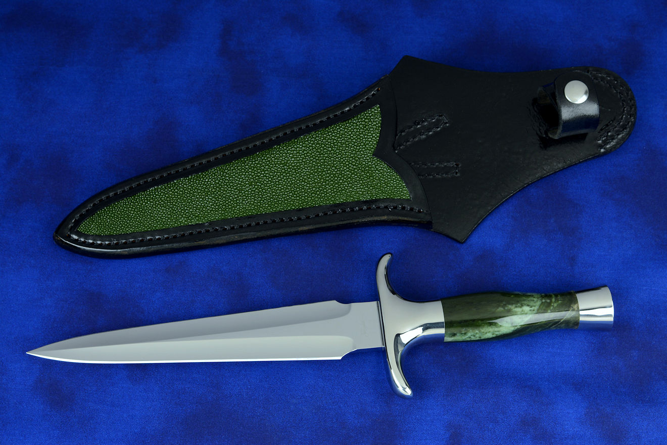 """Daqar"" dagger, obverse side view in CPM154CM powder metal technology stainless steel blade, 304 stainless steel guard and pommel, Nephrite Jade gemstone handle, hand-carved leather sheath inlaid with rayskin"
