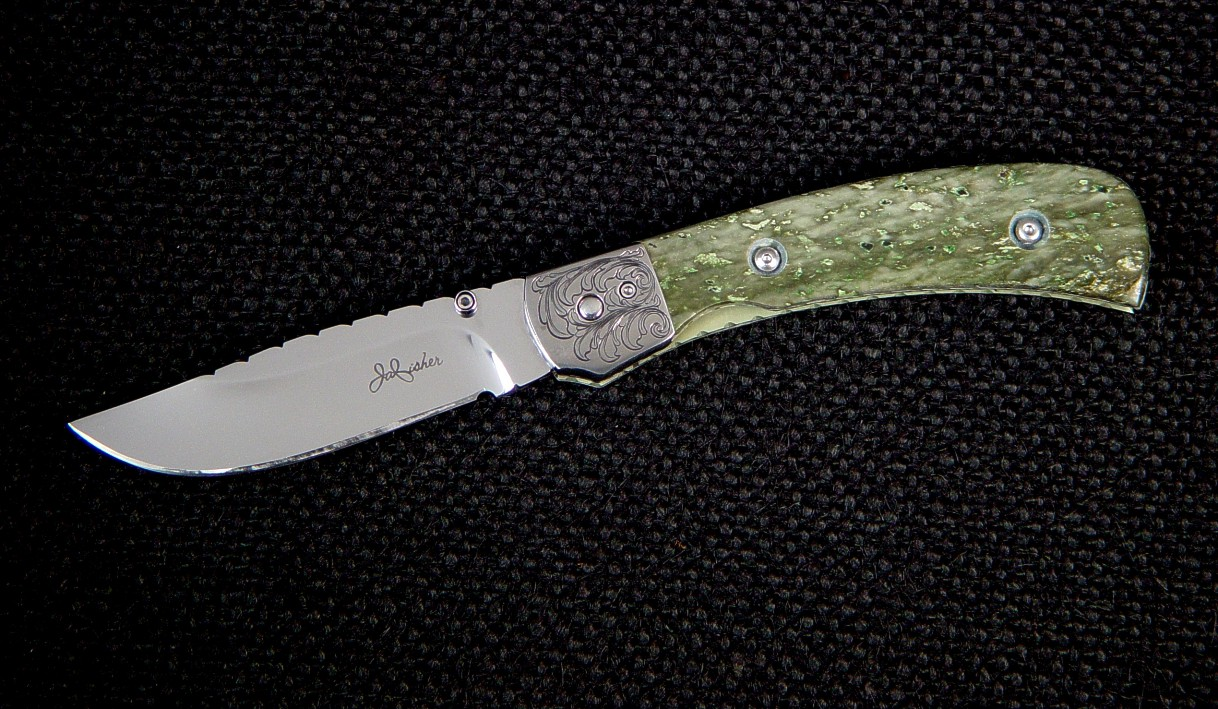 """Gemini"" Liner lock folding knife: hollow ground 440C high chromium stainless steel blade, hand-engraved 304 stainless steel bolsters, nephrite jade gemstone handle, 6AL4V anodized titanium liners"