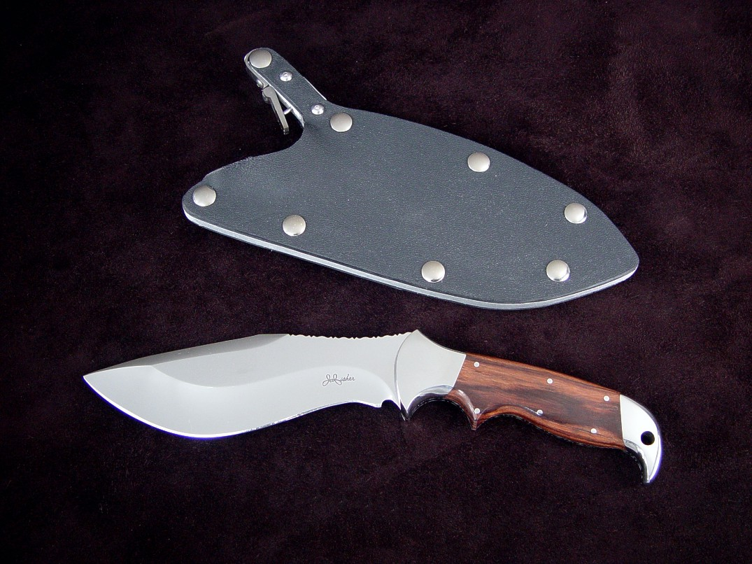 """Hooded Warrior"" ATS-34 high molybdenum stainless tool steel blade, 304 stainless steel bolsters, Kingwood hardwood handle, locking kydex, aluminum, stainless steel combat sheath"