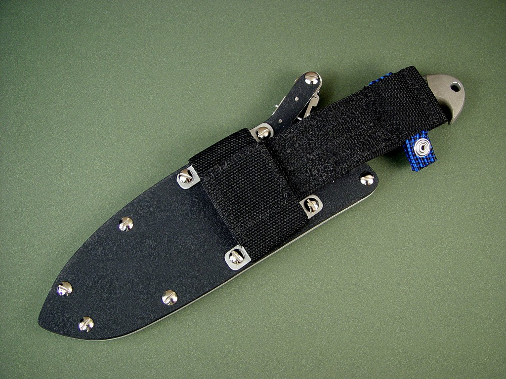 """Horrocks"" tactical combat knife with locking sheath belt loop extension accessory"