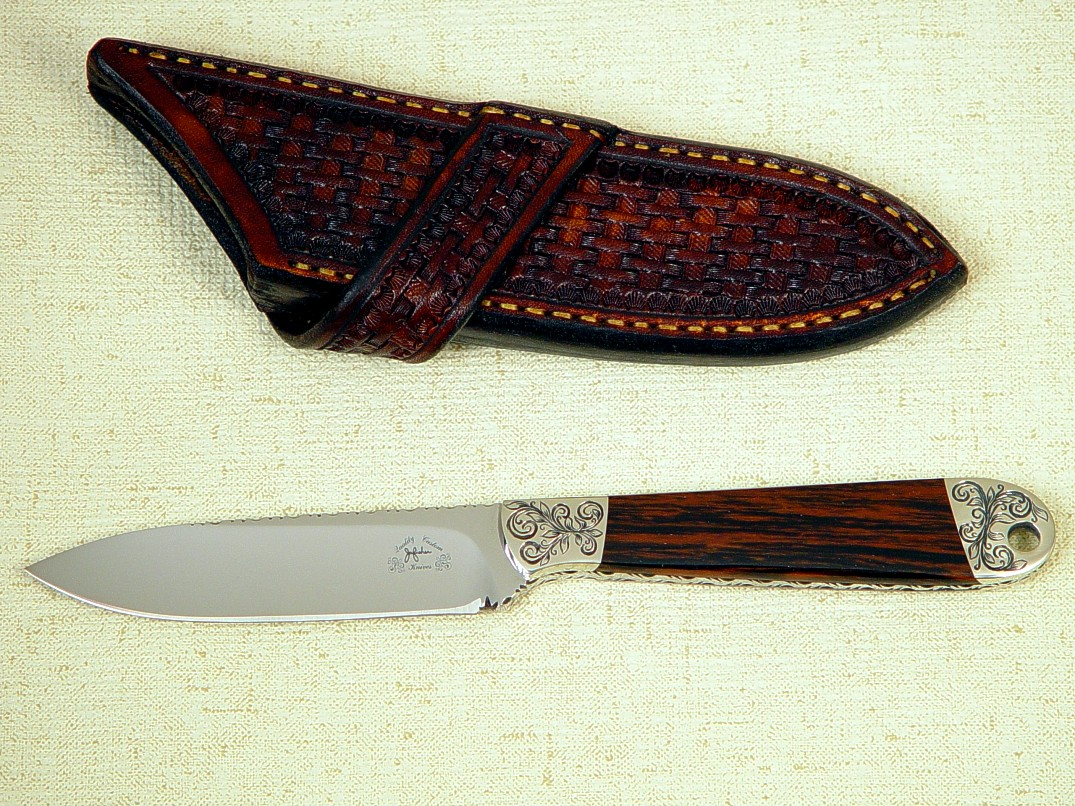 "The ""Horseman"" in 440C  high chromium stainless steel blade, hand-engraved nickel silver bolsters, Mahogany Obsidian gemstone handle, basket weave tooled cross draw leather sheath"