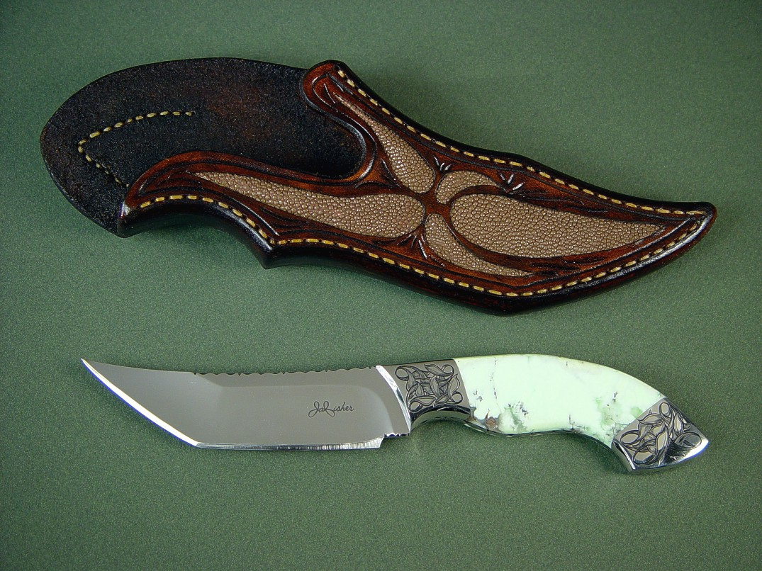 """Izanami"" 440C high chromium stainless steel blade, hand-engraved 304 stainless steel bolsters, Nickel Magnesite gemstone handle, Rayskin inlaid in hand-carved leather sheath"