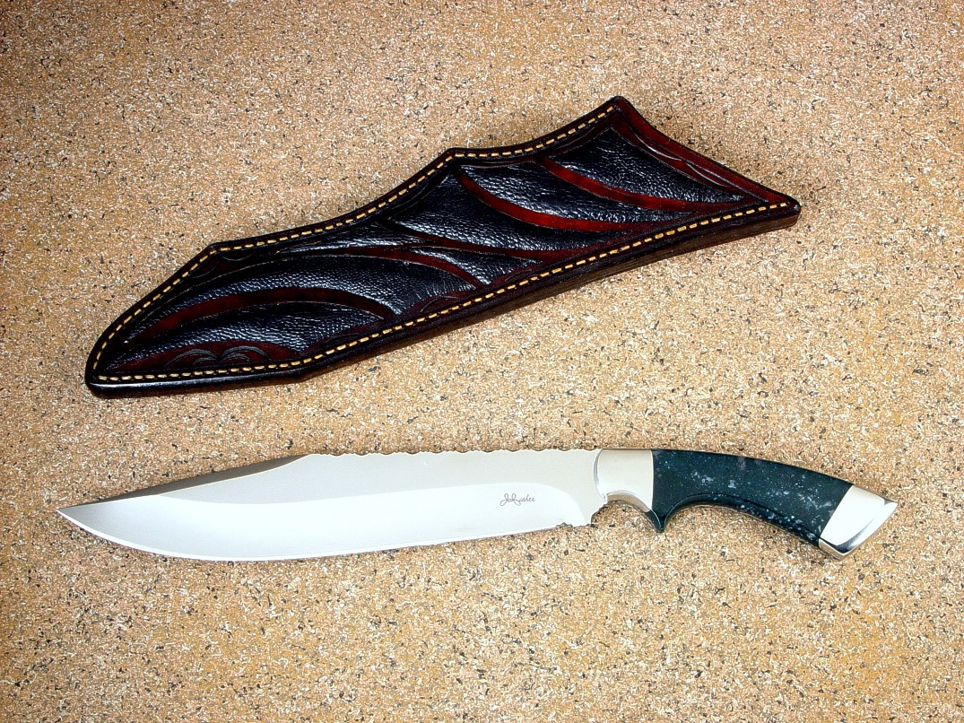 """Jungle Bowie"" 440C high chromium stainless steel blade, 304 stainless steel bolsters, Indian Green Moss Agate gemstone handle, Ostrich leg inlaid in hand-tooled leather shoulder."