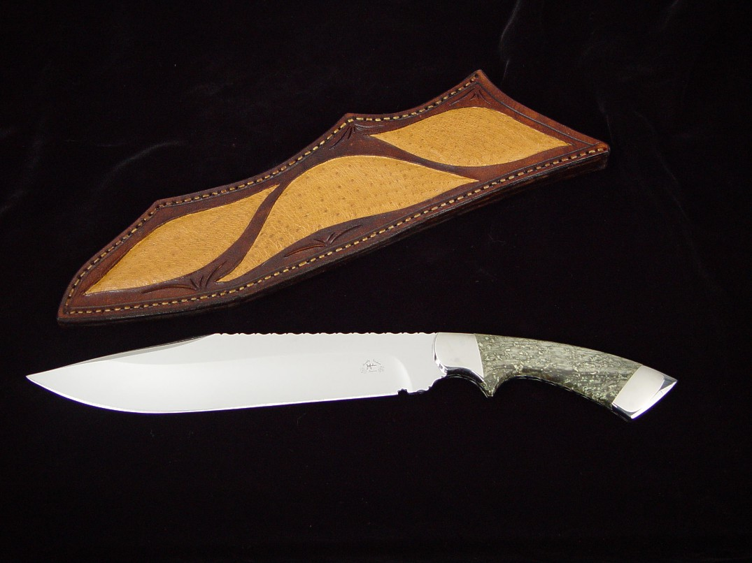 """Jungle Bowie"" custom knife, obverse side view in 440C high chromium stainless steel blade, 304 stainless steel bolsters, Nephrite Jade gemstone handle, emu skin inlaid in hand-carved leather sheath"