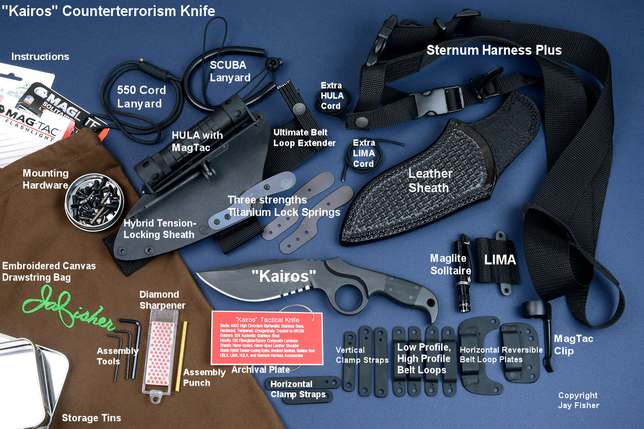 """Kairos"" (Shadow Line), complete counterterrorism knife and accessory package with identifying text"