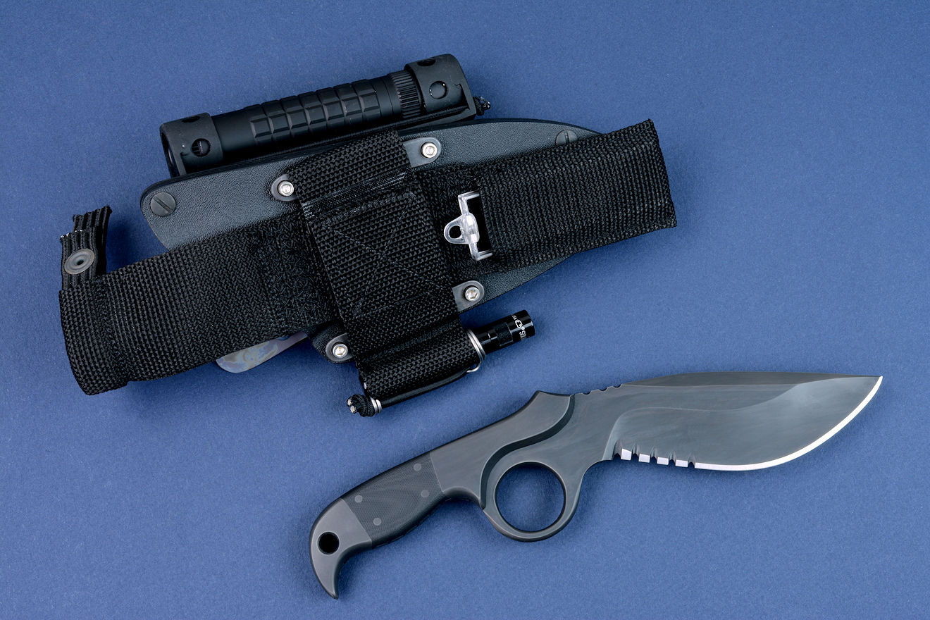 """Kairos"" (Shadow Line), reverse side view, sheath back has mounted Ultimate belt loop extender, with sharpener pocket and LED solitaire flashlight"