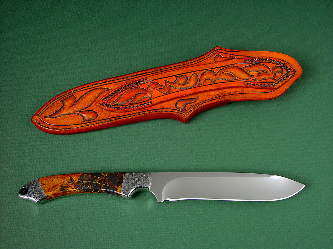 """Magdalena Magnum"" reverse side view in D2 extremely high carbon die steel blade, hand-engraved 304 stainless steel bolsters, Pilbara Picasso Jasper gemstone handle, hand-carved, hand-tooled leather sheat"