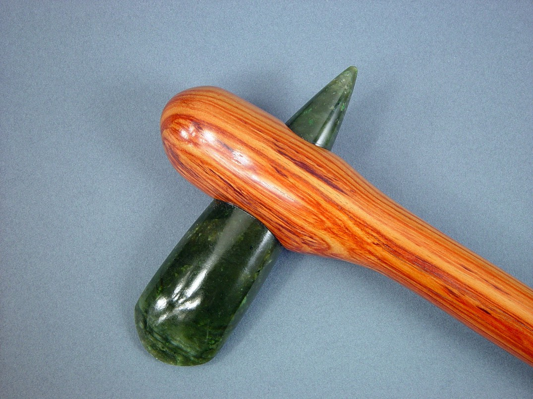 Petaloid celt mounting with jade celt and tulipwood handle