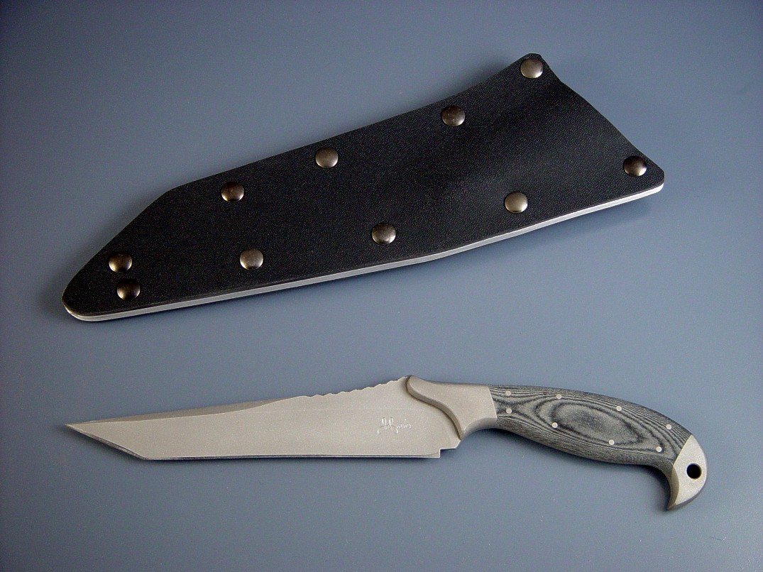 "Special Forces ""Mercator"" in bead blasted 440C high chromium stainless steel blade, 304 stainless steel bolsters, canvas micarta phenolic handle, tension fit kydex, aluminum, blued steel sheath"