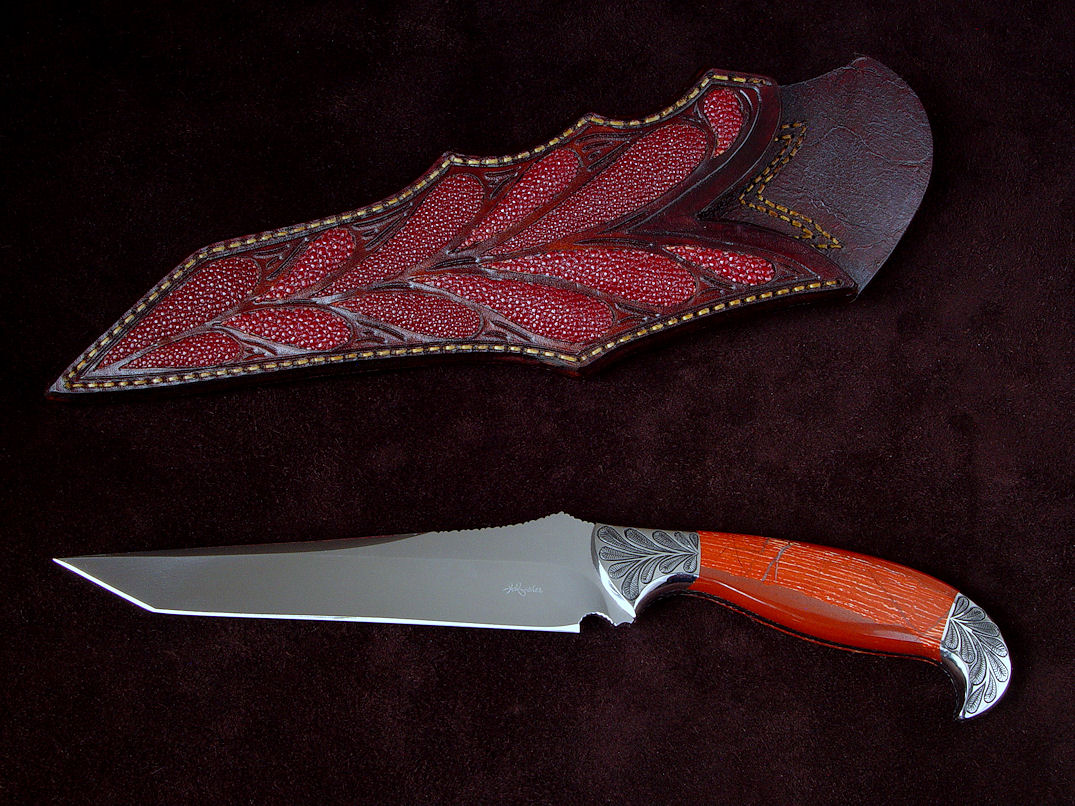 """Mercator"" custom knife, obverse side view in 440C high chromium stainless steel blade, hand-engraved 304 stainless steel bolsters, Snakeskin Jasper gemstone handle, red rayskin inlaid in hand-carved leather sheath"