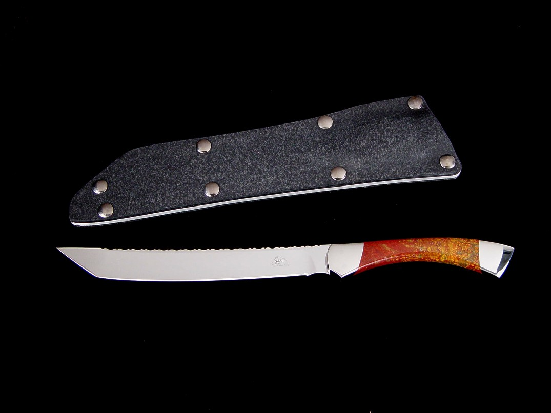 """Nightwind"" tanto tactical knife, obverse side view in 440C high chromium stainless steel blade, 304 stainless steel bolsters, New Mexico Jasper gemstone handle, kydex, aluminum, blued steel sheath"