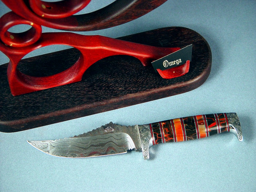Black and Red Petrified wood knife handle, hidden tang with damascus steel blade
