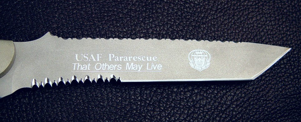 "Blade of ""PJLT"" United States Air Force Pararescue ""Parajumper Light"" Combat Search and Rescue Professional knife"