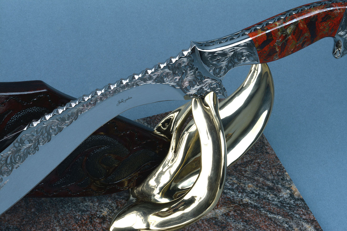 """Pallene"" knife obverse side bolster detail, bronze hand-cast display and sculptural stand"
