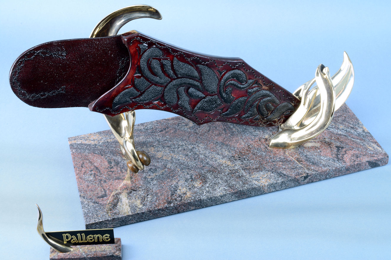 """Pallene"" sheath on sculpturall stand, with over 40 inlays of black rayskin in hand-carved burgundy leather, hand-stitched with polyester"