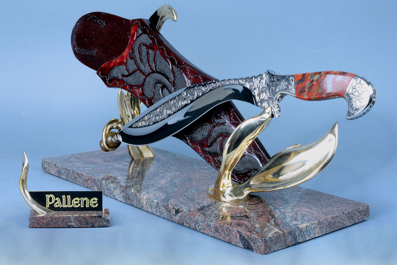 """Pallene"" knife sculpture, front right side view. Knife is my ""Phlegra"" pattern of khukri/kopesh, an ancient design."