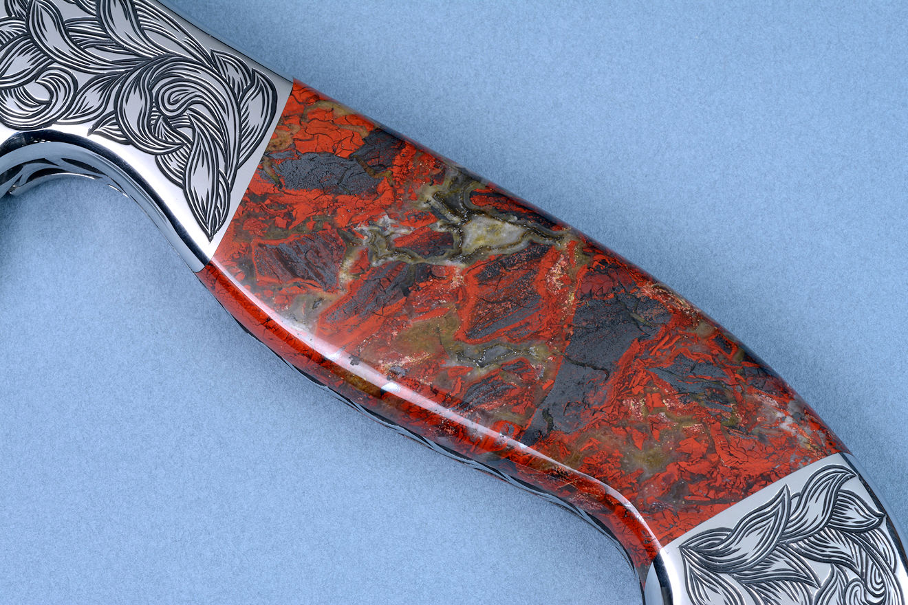 """Pallene"" obverse side gemstone handle detail. Stone is Brecciated Jasper from Kenya, Africa rift valley"