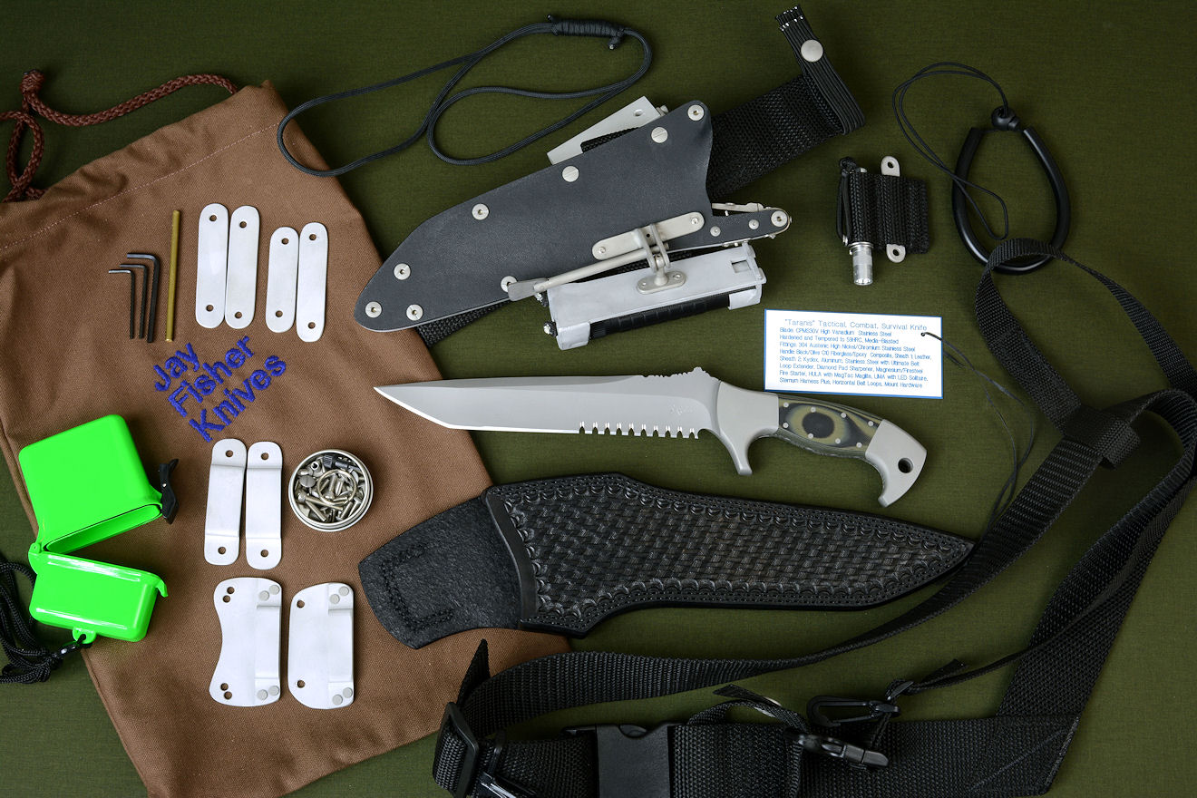 """Taranis"" tactical, combat, rescue, survival knife with all accessories: leather sheath, locking kydex sheath, Ultimate Belt Loop Extender, Magnesium/Firesteel Firestarter, HULA with MagTac Flashlight LIMA with LED Maglite Solitaire, sternum harness plus, belt loops, clips, stainless steel hardware, SCUBA and Paracord lanyards, archival nameplate, heavy canvas embroidered bag"