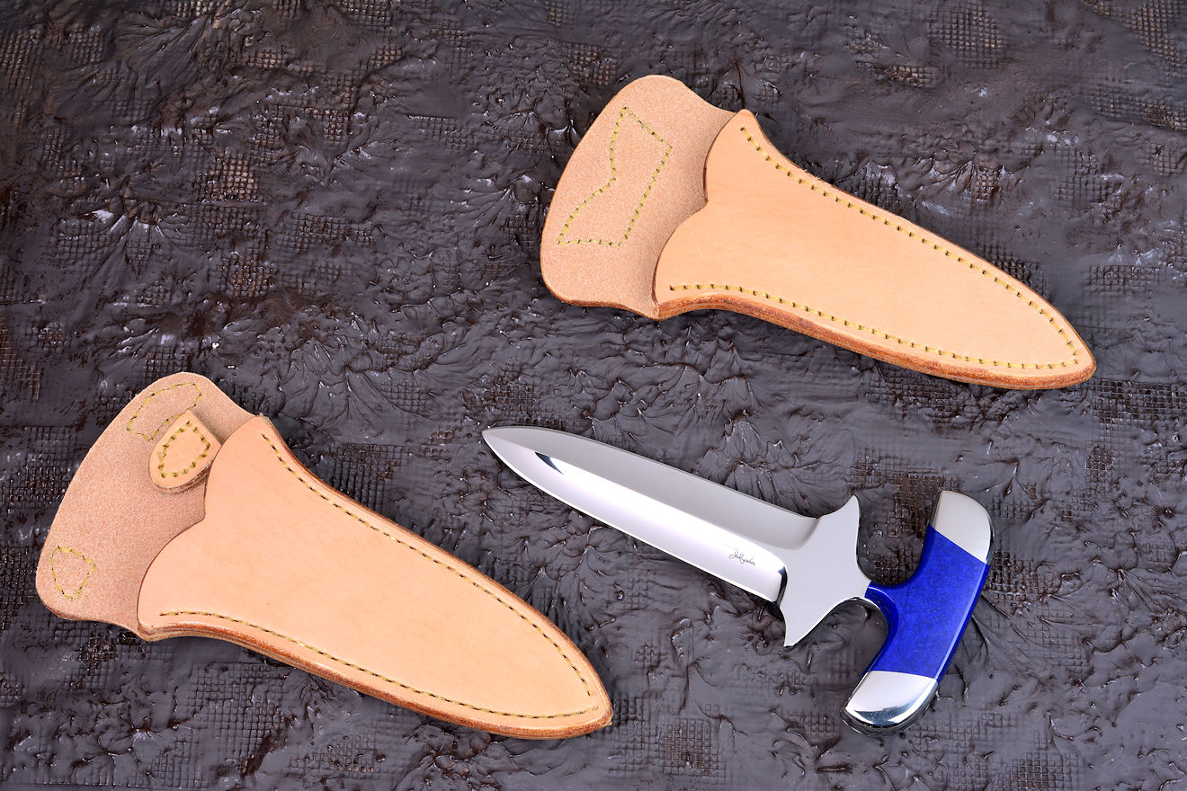 """Vindicator"" push dagger, obverse side view in CPM154CM powder metal technology tool steel blade, 304 stainless steel bolsters, Afghanistan Lapis Lazuli gemstone handle, undyed, untreated horizontal and vertical  leather sheaths"