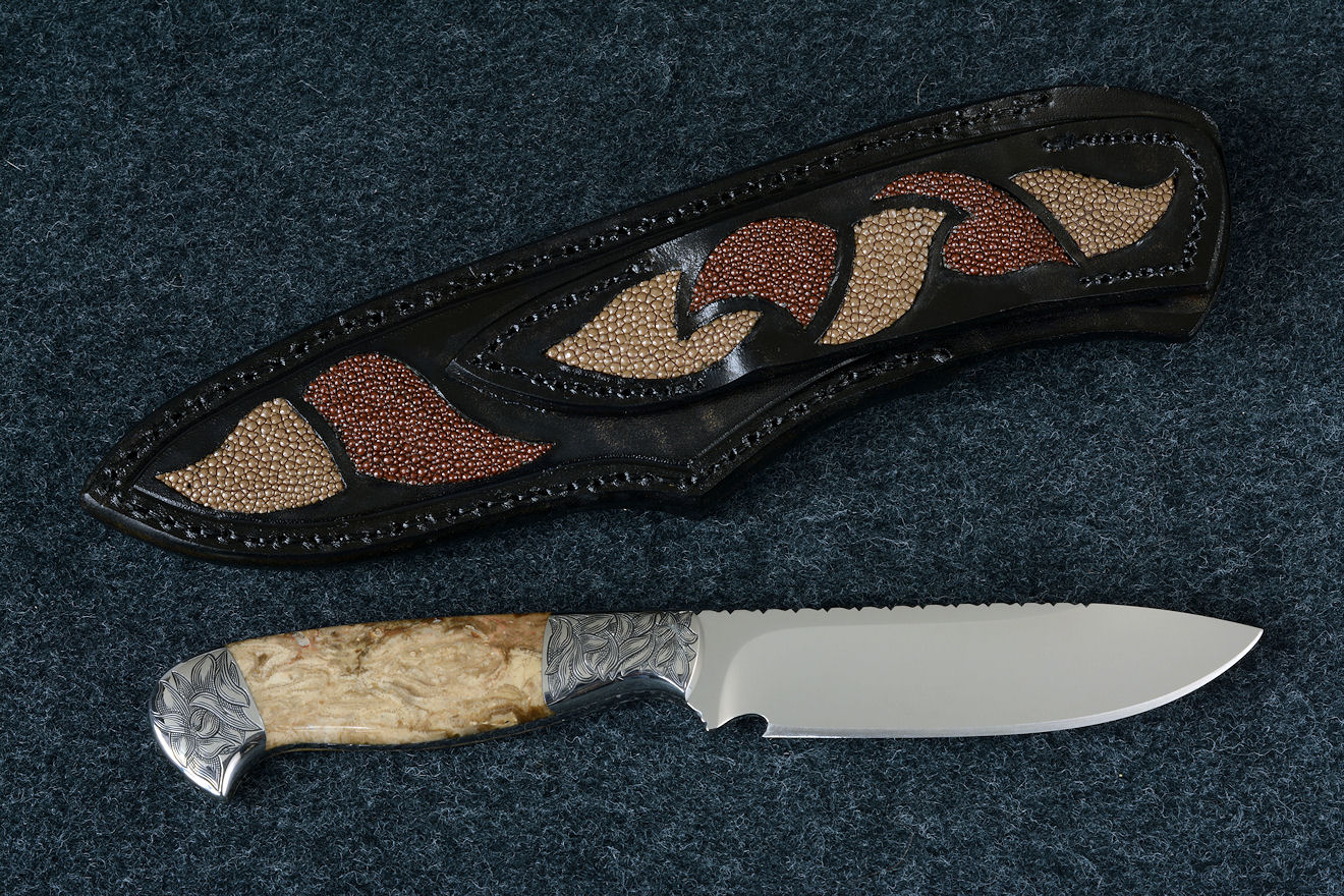"""Vulpecula"" reverse side view in D2 extremely high carbon die steel blade, hand-engraved 304 stainless steel bolsters, Petrified Fern fossil gemstone handle, hand-carved leather sheath inlaid with rayskin"