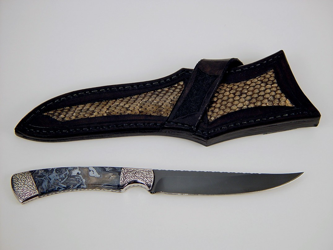"""Wasat"" in mirror polished O1 high carbon tungsten-vanadium tool steel blade, hand-engraved O-1 steel bolsters, Moss Agate gemstone handle, Prairie Rattlesnake skin inlaid in hand-carved leather sheath"