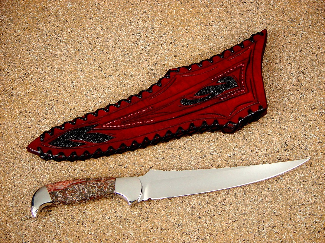 """Zorya"" in 440C high chromium stainless steel blade, 304 stainless steel bolsters, Leopard Skin jasper gemstone handle, hand-laced leather sheath inlaid with black stingray skin"