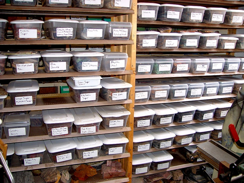 Shelves of gemstone, rock, minerals use in custom knife making handles, fittings, components
