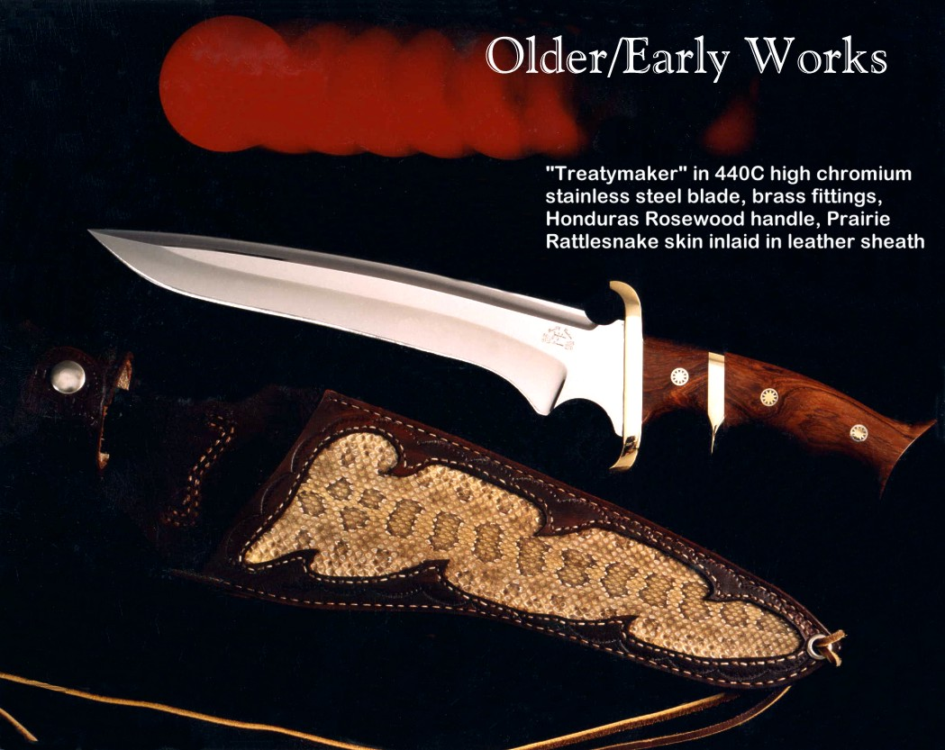 """Treatymaker"" in 440C stainless steel blade, brass fittings, honduras rosewood handle, rattlesnake skin in leather sheath"