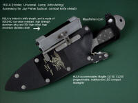 HULA Holder for tactical combat flashlight accessory mounted on locking combat knife sheath for US Navy Seal