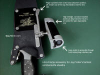Details, operation, wear and use for tactical flashlight holder mounted on locking combat knife sheath