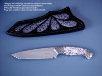 "Fine investment grade and working knives: ""Alegre"" in 440C high chromium stainless steel blade, hand-engraved 304 stainless steel bolsters, orbicular amethyst gemstone handle, frog skin inlaid in hand-carved leather sheath"