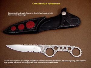 Knife anatomy, parts, names, definitions; a simple skeletonized knife consists of a blade and handle in a single bar of steel, finished and embellished