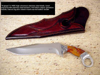 "Fine investment grade tactical weapon, knives: ""Argiope"" in mirror finished stainless steel blade, hand-engraved stainless steel bolsters, fittings, Polvader Jasper gemstone handle, ostrich leg skin burgundy inlaid in hand-carved leather sheath"