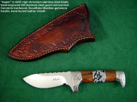"Collector's, hunting knife: ""Aspen"" in 440c stainless steel, hand-engraved 304 stainless steel guard and pommel, cocobolo hardwood, snowflake obsidian gemstone handle, hand-tooled leather sheath"
